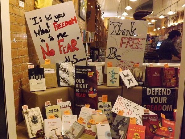 Banned Books were on display in Maria's Books' windows.