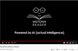 "A screenshot from the Midtown Reader's clip that reads ""Powered by AI (actual intelligence)"