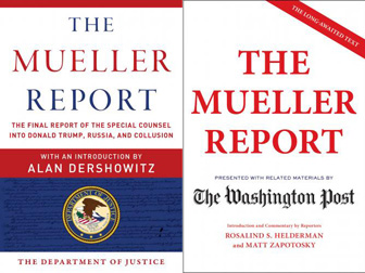 Two covers for The Mueller Report