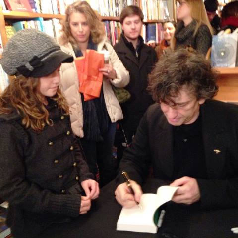 Author and Indies First spokesperson Neil Gaiman signs for fans at The Golden Notebook