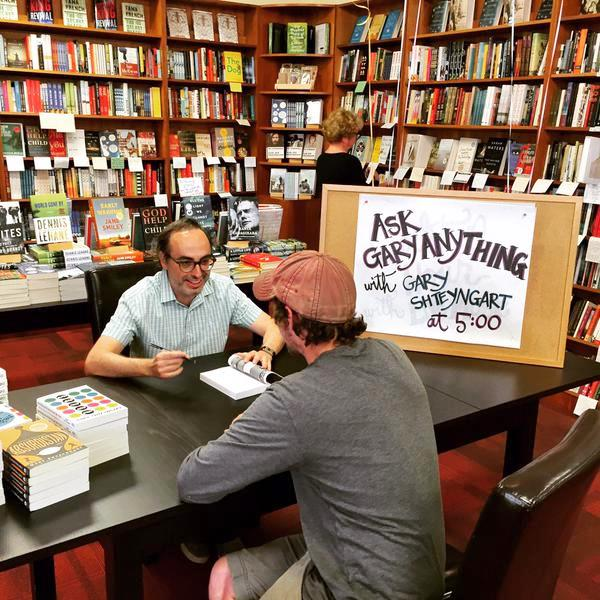 "Oblong Books & Music in Rhinebeck, New York, set up an ""Ask Gary Shteyngart"" table."