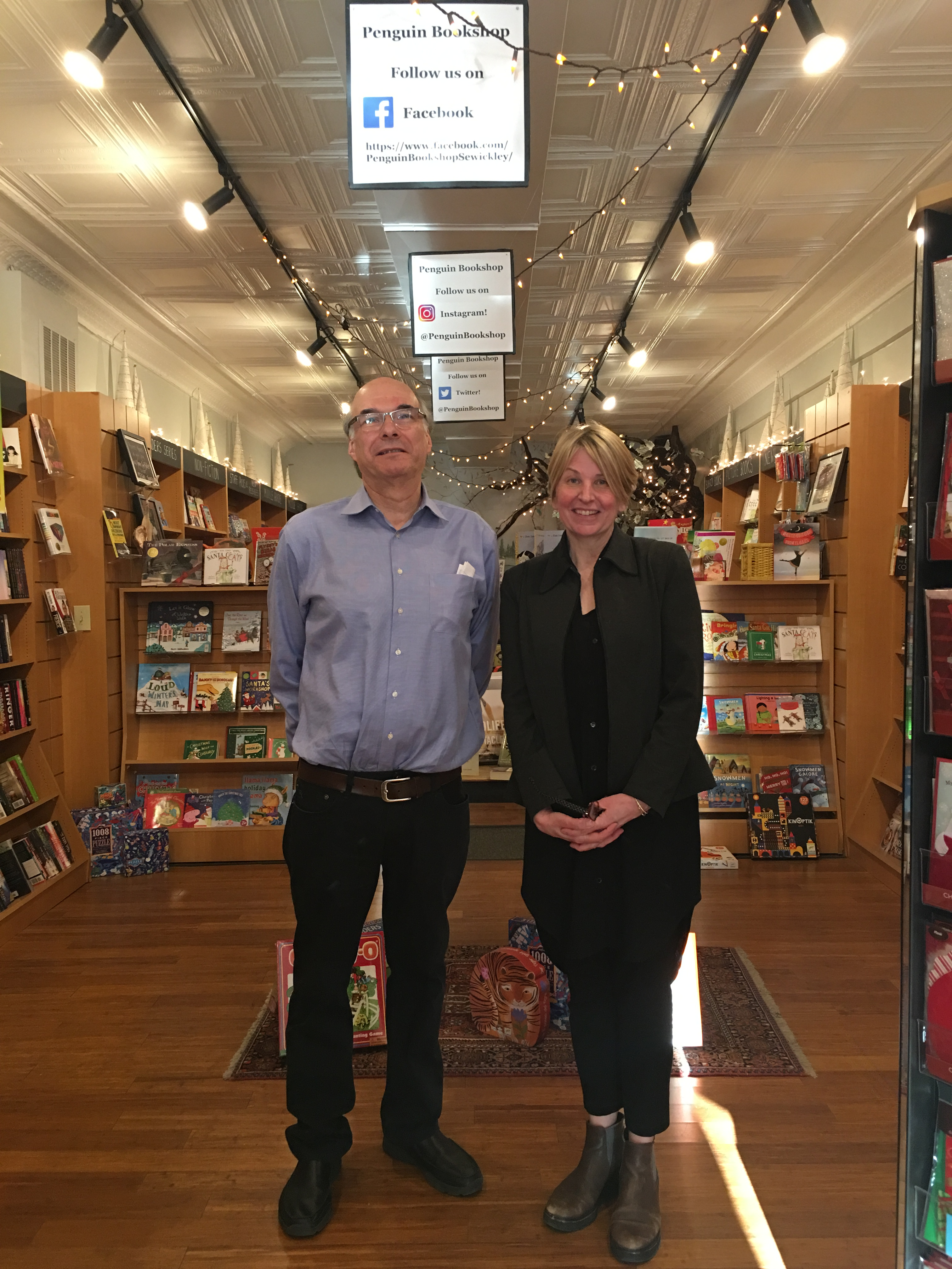 Teicher also visited the Penguin Bookshop in Sewickley, Pennsylvania, owned by Susan Hans O'Connor.