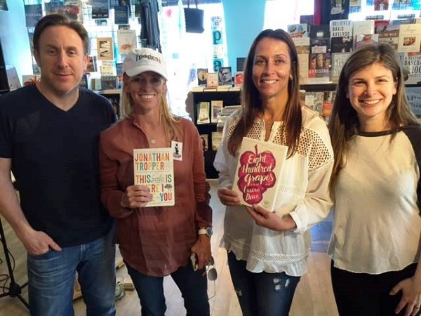 {pages} co-owners Linda McLoughlin Figel and Margot Farris with authors Jonathan Tropper and Laura Dave.