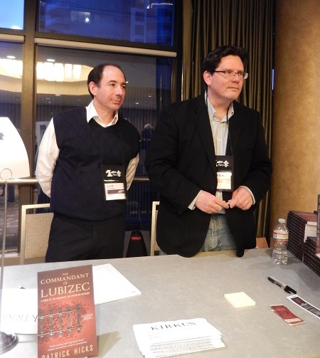 Author Patrick Hicks and Steerforth publisher Chip Fleischer meet booksellers at the Small & Independent Press Author Reception.
