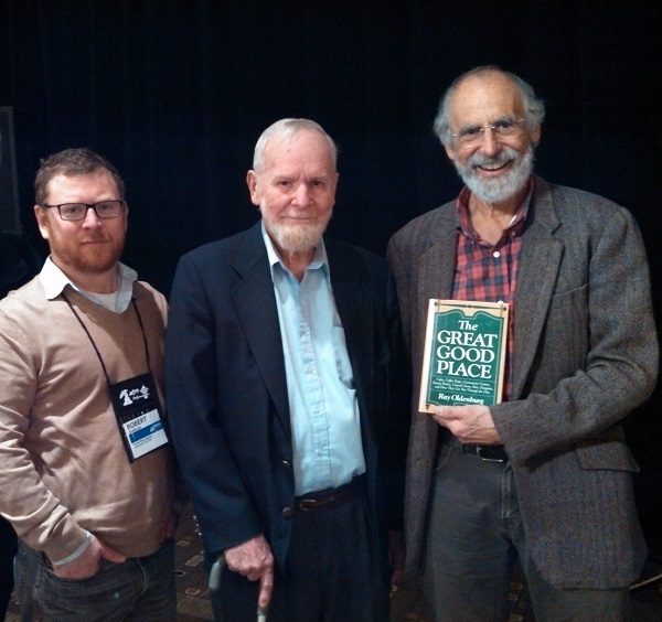 "Robert Sindelar (L) and Ron Sher (R) of Third Place Books join Ray Oldenburg, the founder of the ""third place"" ideology."