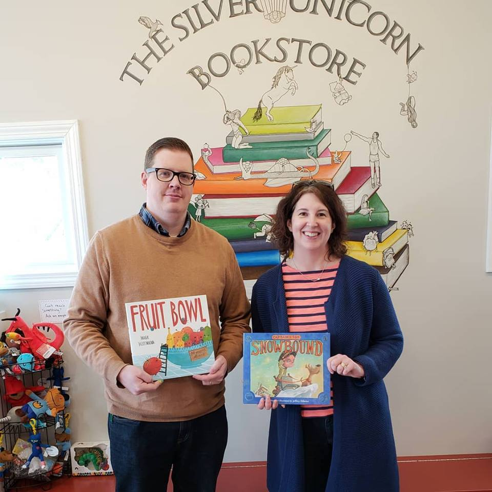 Authors Mark Hoffmann and Erin Dionne conducted story time at The Silver Unicorn Bookstore in Acton, Massachusetts.
