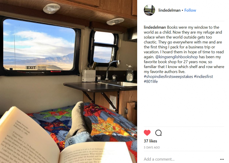 Linda Edelman posted on Instagram about her love of books and her favorite indie bookstore to enter the sweepstakes.