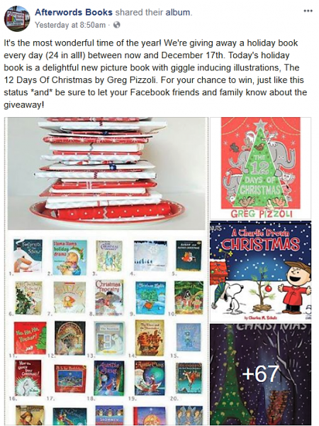 Afterwords Books is running a seasonal book giveaway.