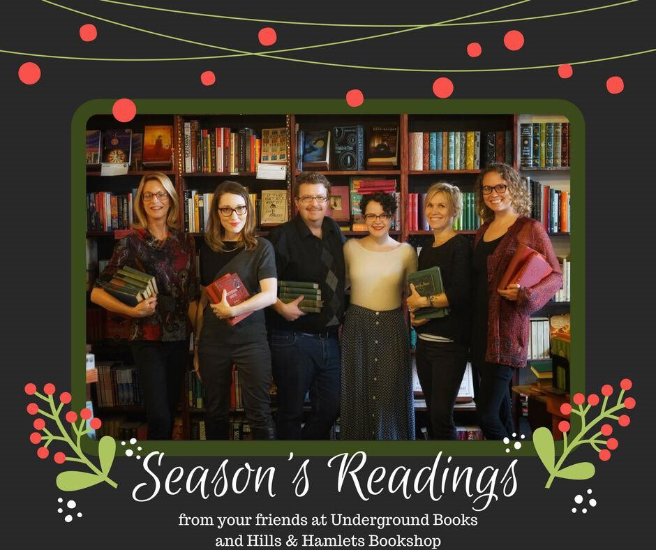 The staff of Underground Books in Carrollton, Georgia, took part in a holiday group photo.