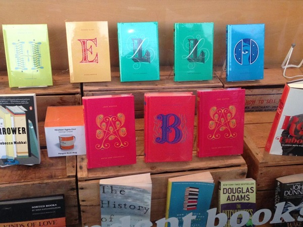 A welcoming display at Secret Garden Books during Tuesday's bookstore tours.