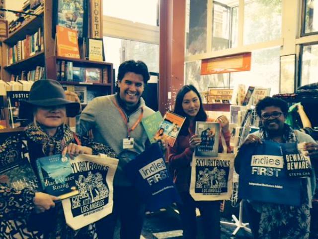 Andrea Portes, Anthony Breznican, Steph Cha, and Attica Locke at Skylight Books