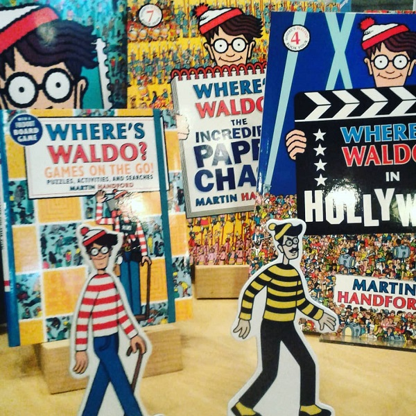 The Find Waldo Local display at Spirit of 76 Bookstore and Card Shop in Marblehead, Massachusetts.