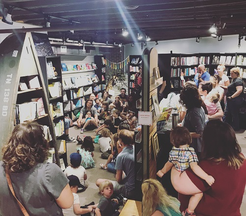 Star Line Books' crowded store for Pride story hour