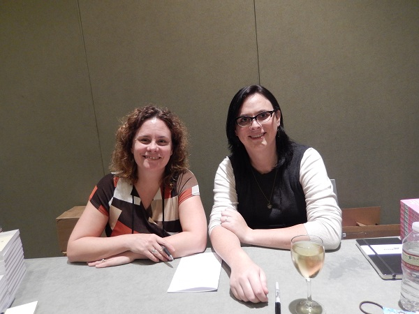 Authors Stephanie Pearl-McPhee and Dana Simpson at the Author Reception.