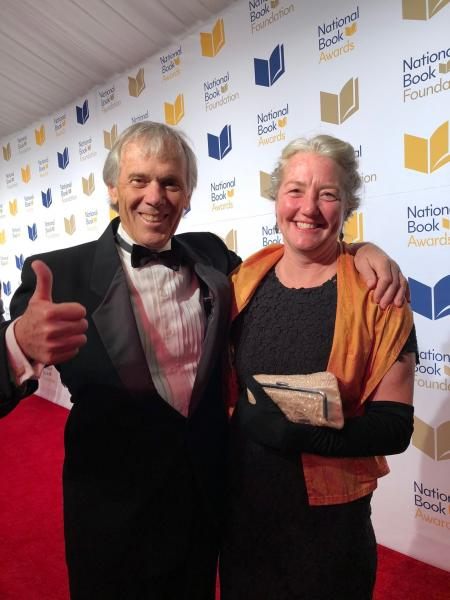 BookPeople CEO and owner Steve Bercu and Annie Philbrick, owner of Bank Square Books and Savoy Bookshop & Cafe, at the awards ceremony.