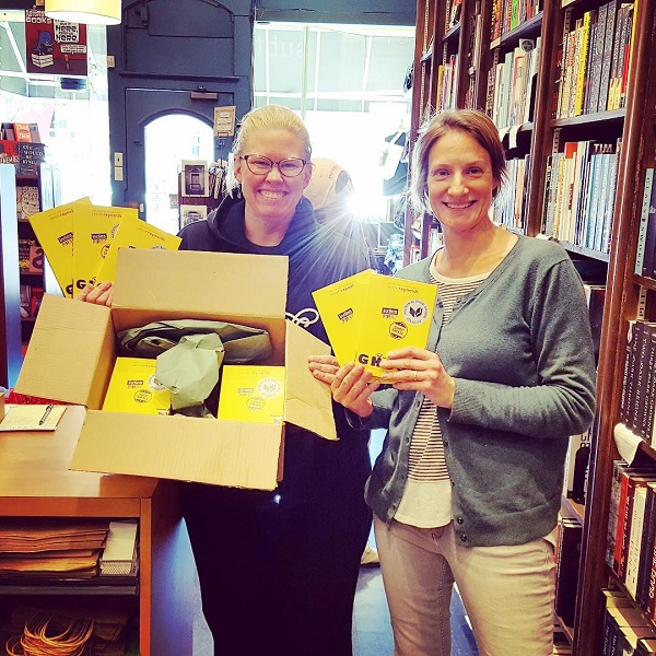 Kelly Von Plonski, owner of Subterranean Books, gave 24 copies of Ghost to Brittany Woods Middle School.