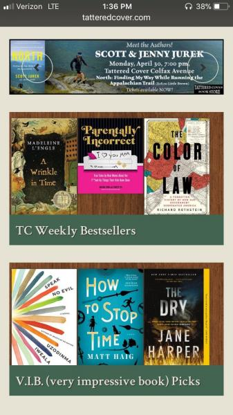 Tattered Cover mobile-friendly website