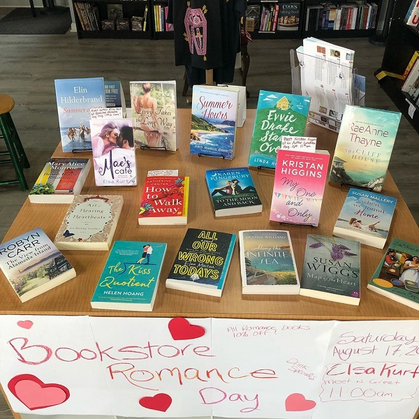 The romance display at That Book Store.