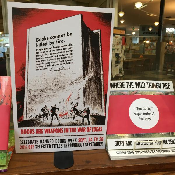 Third Place Books in the Seattle area is attracting attention to banned and challenged books in a provocative display designed to remind customers of an era when books were burned to silence dissenting views.