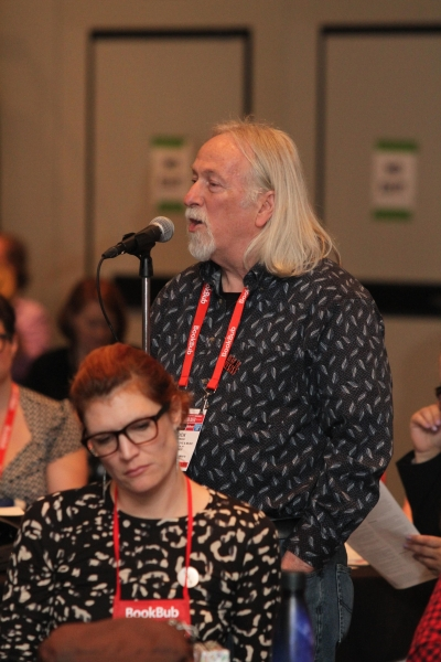 Dick Hermans of Oblong Books & Music asked the ABA Board about healthcare at the 2019 Town Hall at BookExpo.
