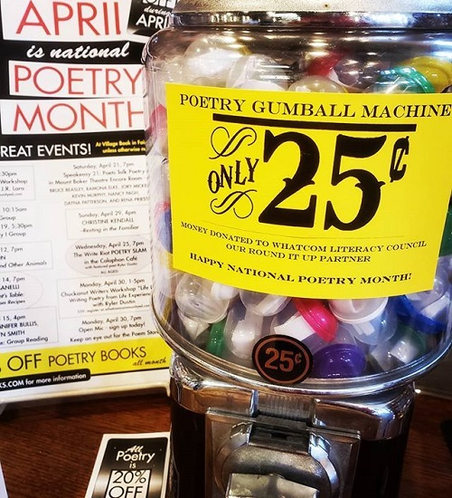 Village Books Poetry Month Gumball Machine
