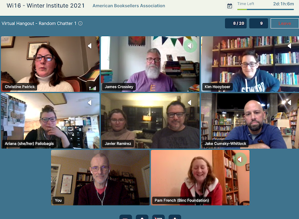 Booksellers gather to talk in the random chatter Virtual Hangout room.