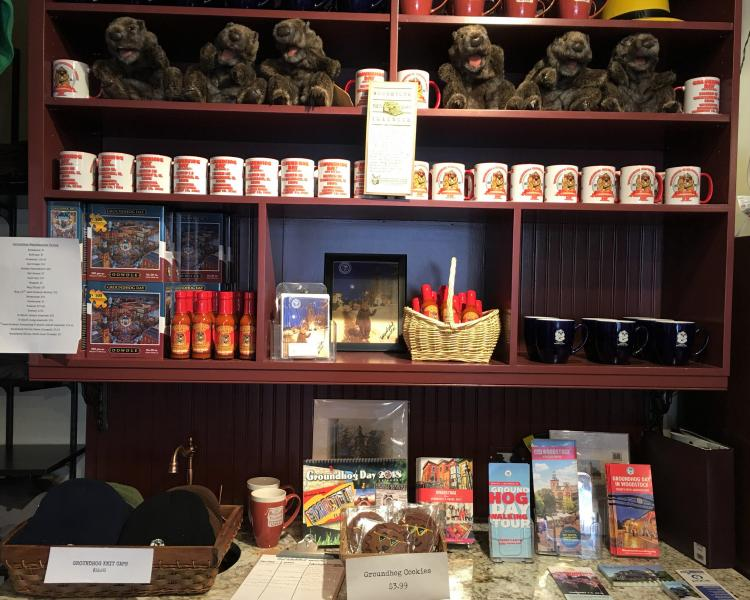 Woodstock's visitors' center inside the bookstore is ready for Groundhog Day.