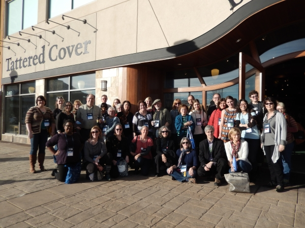 Tattered Cover's Len Vlahos welcomed booksellers from around the country to the Aspen Grove store in Littleton.