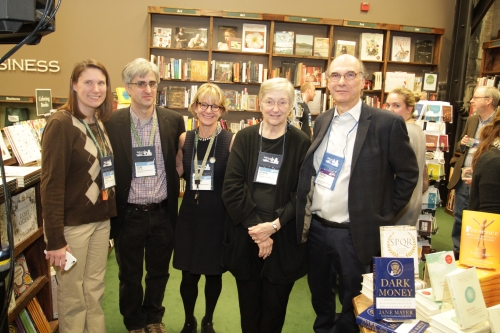 Tattered Cover's Kristen Gilligan, Len Vlahos, Cathy Langer, and Joyce Meskis with ABA CEO Oren Teicher.