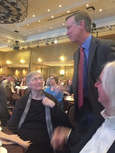 Colorado Gov. John Hickenlooper came to the Monday morning breakfast to honor Tattered Cover's Joyce Meskis.