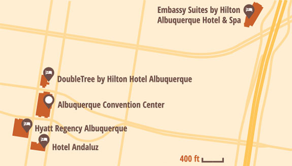 Map of Albuquerque showing Winter Institute 2019 Hotels