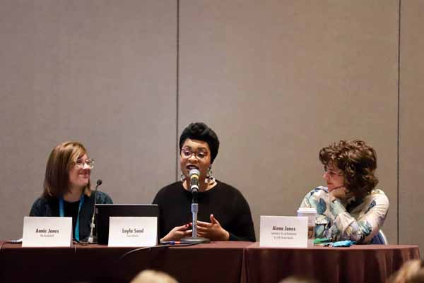 A Winter Institute education session focused on bookstore podcasts.