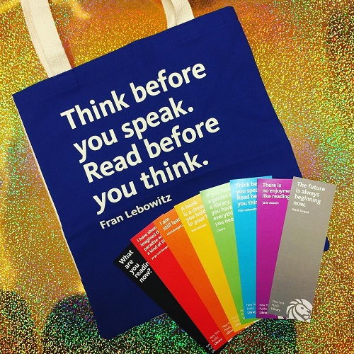 Writer's Block shows off tote and rainbow bookmarks