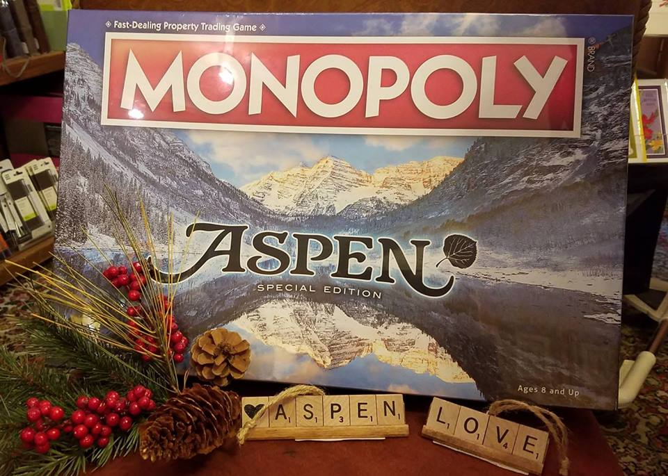 Explore Booksellers was one of many small businesses in Aspen that sold custom monopoly boards this season.