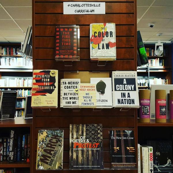 Booksellers at Belmont Books in Belmont, Massachusetts created a # CharlottesvilleCurriculum display composed of books to help people learn about issues of racism and white supremacy.