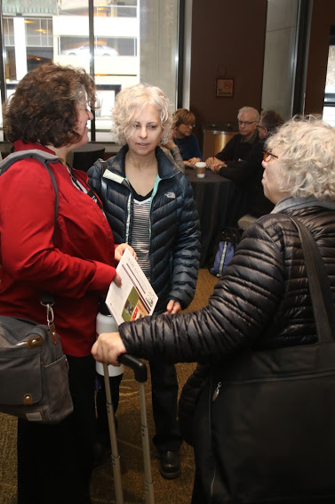 Excited booksellers meet children's author Kate DiCamillo.