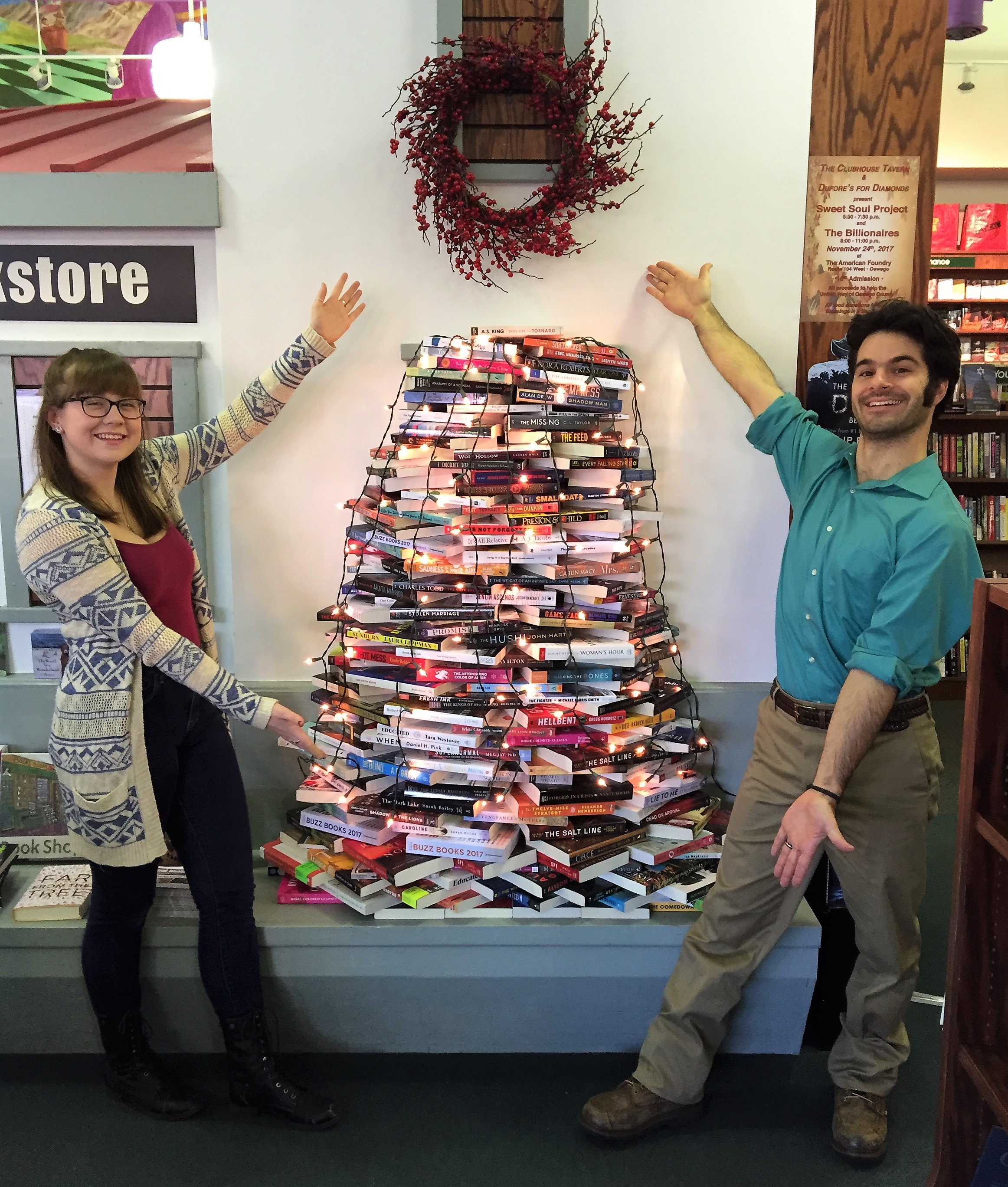 Bookseller Clare Donovan and bookstore manager Emil Christmann at the river's end bookstore in Oswego, New York.