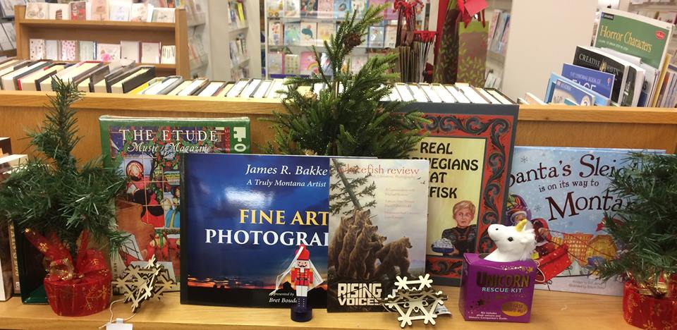 A festive holiday book display at Bookworks of Whitefish in Montana.