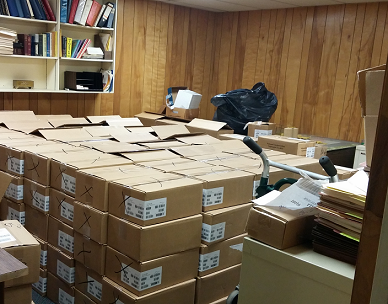 Boxes of books at Fountain Bookstore