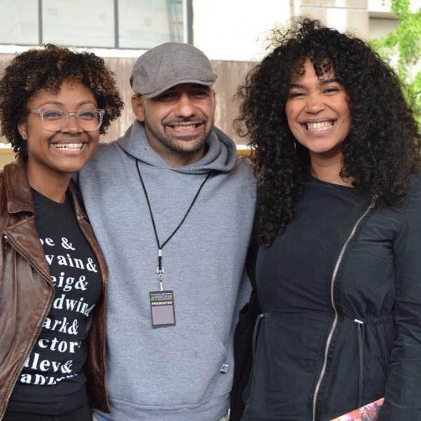 Daniel Jose Older (center) and Elizabeth Acevedo (right) appeared in conversation with Bronx Book Festival founder Saraciea Fennell (left).