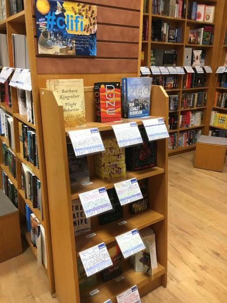 BookPeople in Austin, Texas, currently features a cli-fi end cap with the best of climate change fiction.