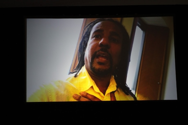 Indies Choice Adult Fiction winner Colson Whitehead addressed booksellers via video.