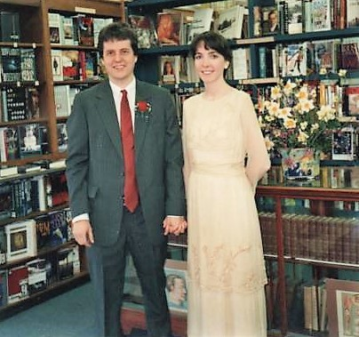 The Meslers at their 1992 wedding reception at Burke's.