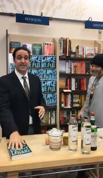 Books Inc. mixes cocktails during its Facebook Live video.