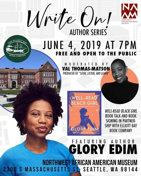 The poster for Glory Edim's event with the Northeast African American Museum.