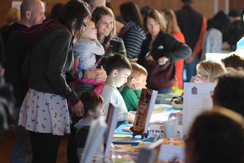 Children and families interact with authors at the 2016 WNY Children's Book Expo.