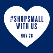 Small Business Saturday logo: #shopsmall with us Nov 26