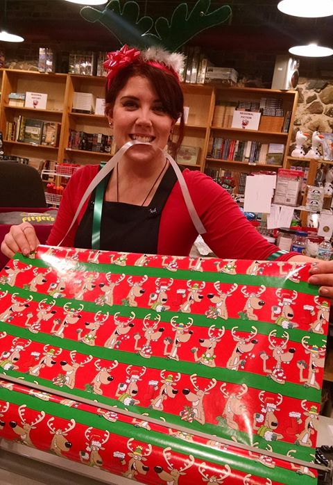 Fitger's bookseller with holiday wrapping paper
