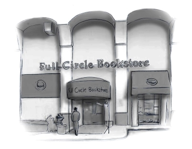 Drawwing of facade of Full Circle Bookstore