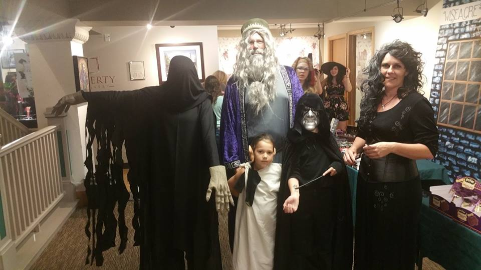 Harry Potter party guests with costumes